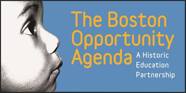 "The Boston Opportunity Agenda logo. Over a sky-blue background: On the left, a black and white photo of the side of a child's face, who is looking up. To the right of that is large yellow text that says ""The Boston Opportunity Agenda"". To the lower right of that is smaller white text that says ""A Historic Education Partnership""."