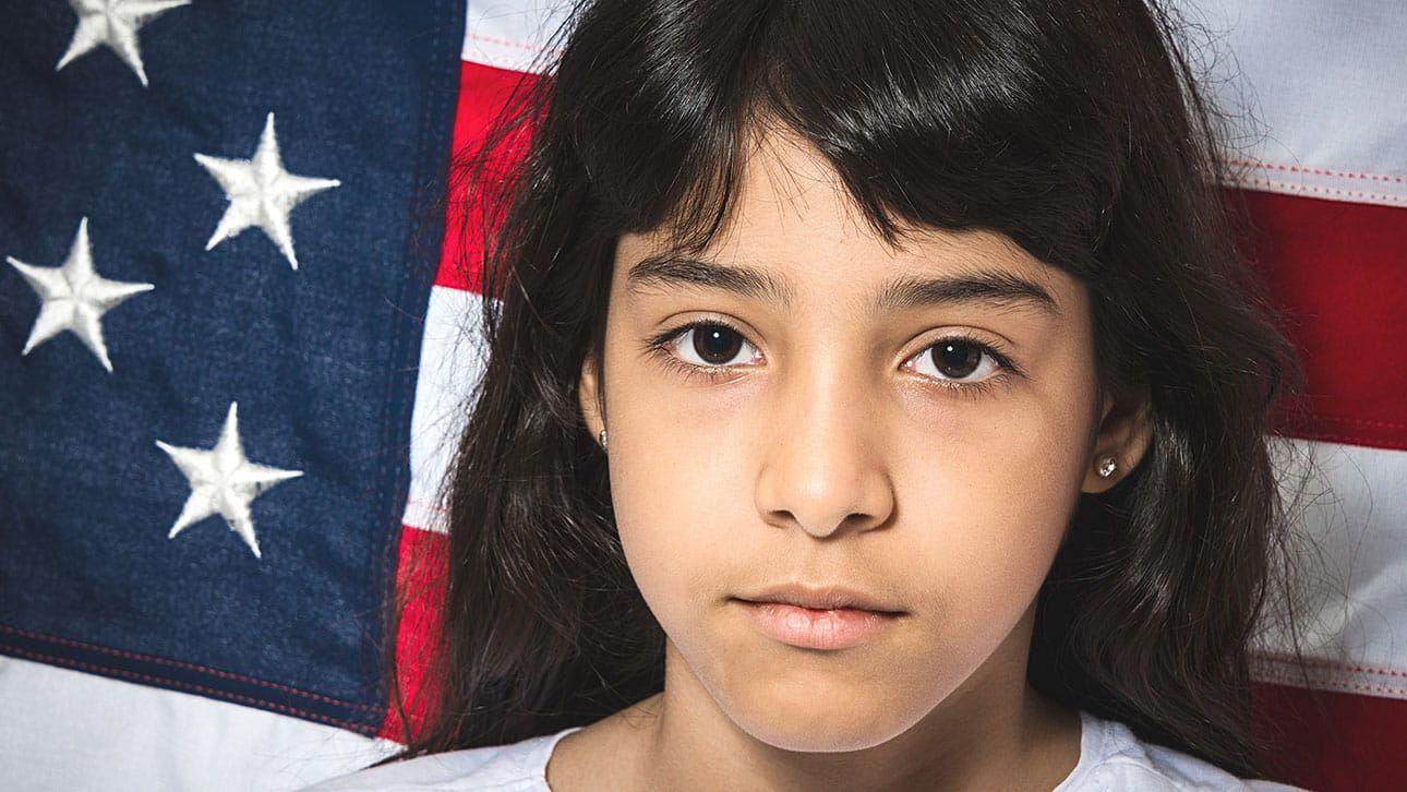 Puerto Rican girl with flag