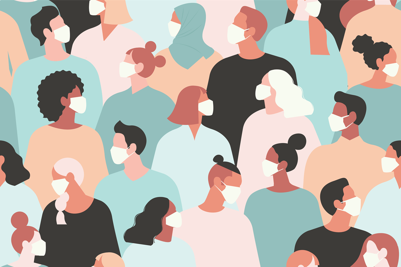 Illustration of many people wearing masks.
