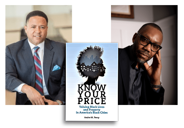 "Orlando Watkins, ""Know Your Price"" book cover and Andres Perry from left to right."