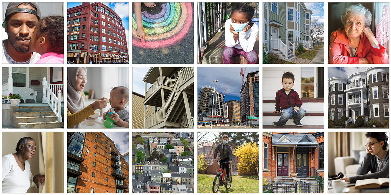 A collage of square photos. The photos are of racially diverse individuals and different types of housing.
