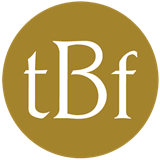 "TBF logo - a gold circle with white, serifed lettering ""tBf"" in the center"
