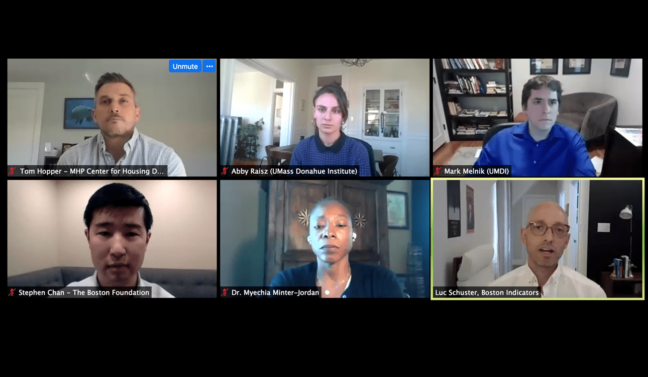 COVID Data Lab webinar screenshot featuring all speakers in two rows of three.