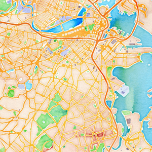 Boston watercolor map