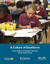 "Report cover of ""A Culture of Excellence: A Case Study of the Benjamin Banneker Charter Public School."""