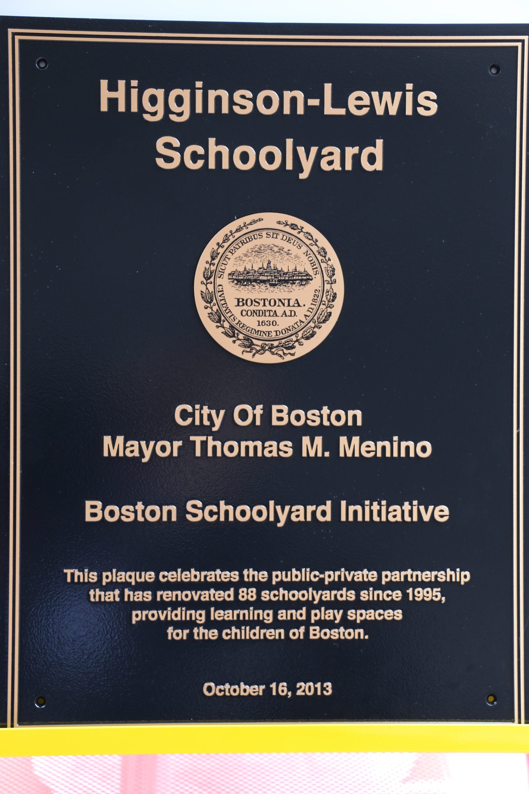 Schoolyard Initiative plaque