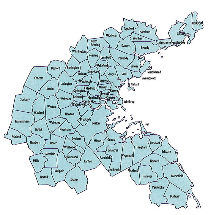 Greater Boston Map Towns.Geographic Area Served