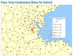 Four-year graduation rates by school